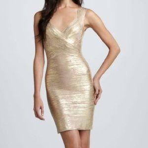 HERVE LEGER Iman Bandage Dress Gold Champagne